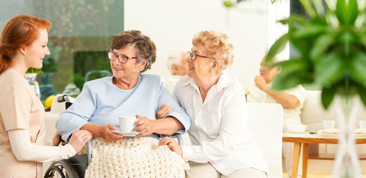 caregiver and elders having a conversation